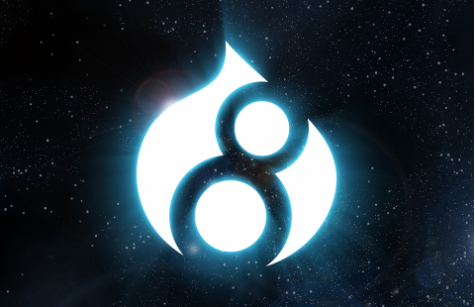 Drupal 8 logo in outer space